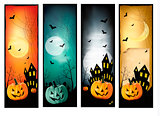 Four Halloween banners Vector