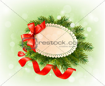 Christmas card with bow and christmas tree branches. Vector.