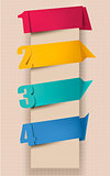 Colorful tags with numbers. Vector illustration.