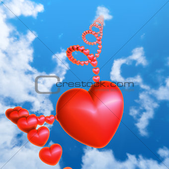 Red heart in the sky