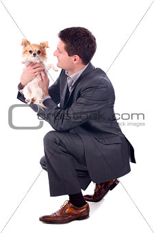 business man and chihuahua