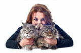 maine coon cats and woman
