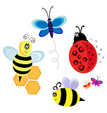vector characters. bugs, bee and butterfly