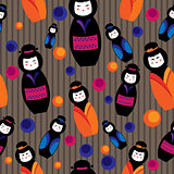 background with kokeshi dolls
