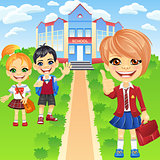 Vector happy smiling schoolchildren girls and boy