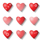 Heart icons. Valentine design elements.