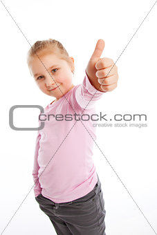 Little girl showing thumbs up.