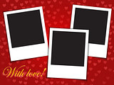 Love card template with blank photo frames