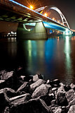 River bridge at colorful night, Bratislava