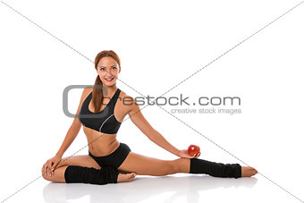 Fitness exercise and an apple