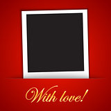 Love card template with blank photo frame on the red background