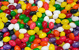 multi colored candy in the form of peas