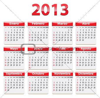 2013 calendar in Spanish