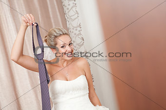 bride with necktie