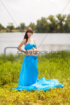 pregnant girl with butterflies