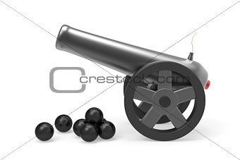 Cannon with black bombs