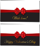 Two luxury greetings card congratulating Valentines day