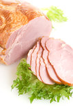 Sliced ham with salad