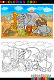 safari wild animals cartoon for coloring book