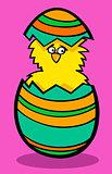 chick in easter egg cartoon illustration