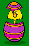 chicken in easter egg cartoon illustration