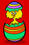 chick in easter egg cartoon illustration