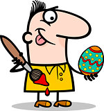 man painting easter egg cartoon illustration