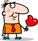 man wit valentine hearth lollipop cartoon