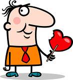 man wit valentine hearth lollipop cartoon