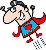 valentine superhero man cartoon illustration