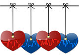 Hearts with cardiogram