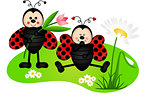 Two cute ladybugs in garden