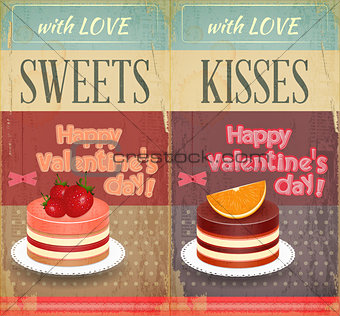 Vintage Retro two Cards to the Valentines Day