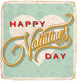 hand-lettered vintage Valentine card (vector)