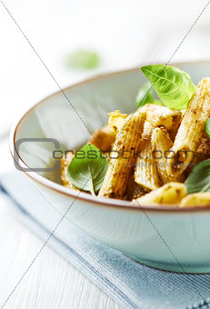 Bowl of Penne Pasta with Basil Pesto