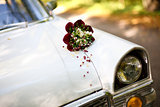 bouquet on the car