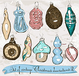 Set of real vintage Christmas decorations