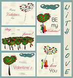 Set of vintage cards about love.