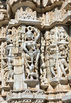 Ancient Sun Temple in Ranakpur. Jain Temple Carving.