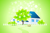 Green Home with Tree