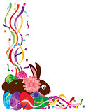 Easter Bunny and Eggs in Confetti Border Illustration