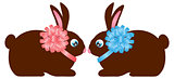 Easter Day Chocolate Bunny Rabbit Pair