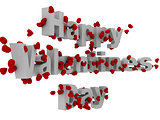 3d happy valentine day text