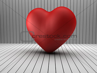 3d heart shape in a log room
