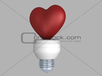 3d concept heart bulb