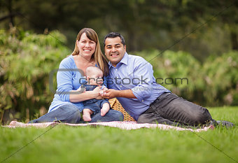 Happy Mixed Race Family Playing In The Park