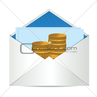 coins Envelope with paper card