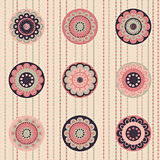 Geometrical pattern with abstract flowers in dust-rose colors