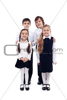 Group of happy and well groomed kids - isolated