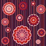 Colorful pattern with abstract flowers